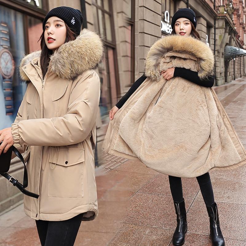 جاكيت من الصوف للنساء 2021 جديد غير رسمي سميك دافئ ملابس طويلة مع غطاء محرك السيارة سستة الشتاء سترة سترة جيب الإناث معطف الثلوج