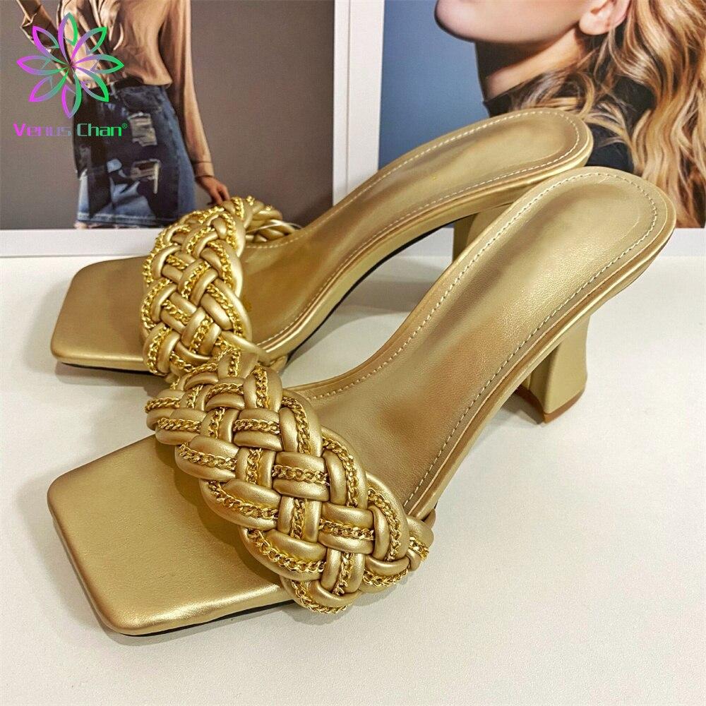 Zapatillas de PVC con decoración de Metal para Mujer, zapatos de tacón fino con punta cuadrada informal, Sexy, a la moda, talla 37-41, novedad de otoño 2021