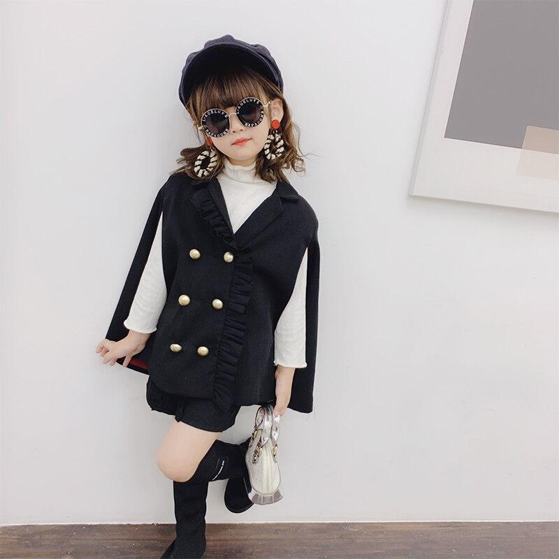 Primavera otoño niñas 2 uds conjunto capa de bebé + Pantalones cortos niños marca traje niños ropa de moda sin mangas doble pecho 2 a 7 años