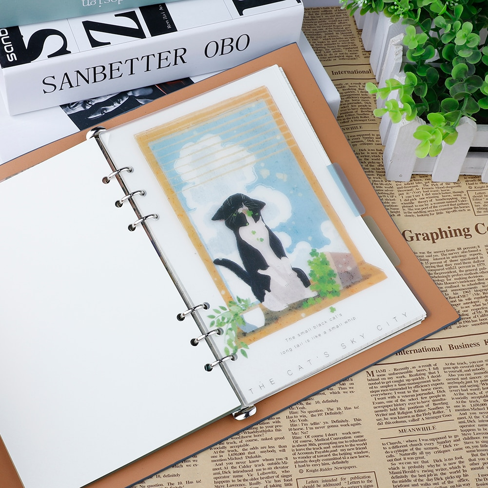 A5/A6 creativo de Notebook página de índice cubierta mate espiral diario planificador nota Libro de las páginas de categoría papelería de la escuela suministros