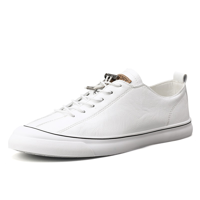 Mens Sneakers Fashion Leather Casual Shoes Lace Up New 2020 Sneaker Rubber Sole Non-slip Breathable Soft Flats Men White Shoes