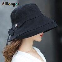 Панама женская летняя с черным бантом, Модная хлопковая шляпа в Корейском стиле, шляпа от солнца, для рыбалки, головной убор, 2021