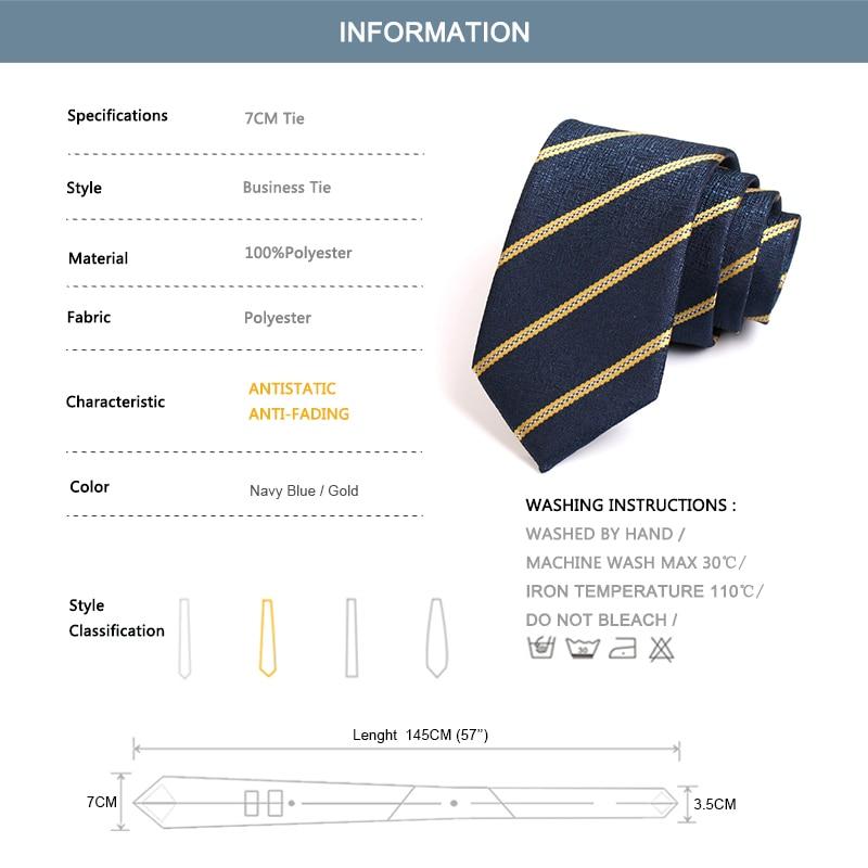 Fashion Formal Tie 2020 New Men's Classic Blue / Gold Striped Neck Tie High Quality 7CM Ties For Men Business Suit Work Necktie
