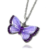 2021 many colors crystal pendant necklace rose gold silver color chain necklaces for women big zircon butterfly wedding