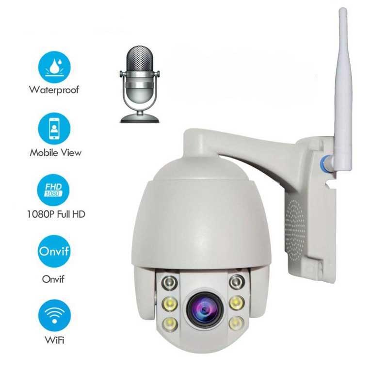 Mini cámara IP PTZ lente fijo HD 1080P cámara de seguridad impermeable 360 ° vista ONVIF vídeo CCTV sistema de vigilancia a todo Color noche