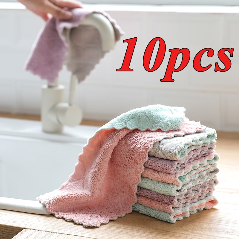 10pcs Super Absorbent Microfiber Kitchen Dish Cloth High-efficiency Tableware Household Cleaning Towel Kitchen Tools Gadgets недорого