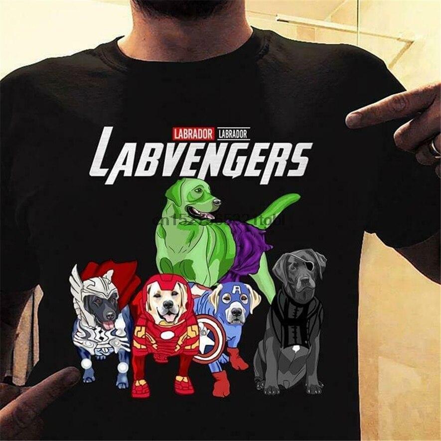 Camiseta de algodón negro para hombre S-6Xl Harajuku camisetas clásicas de moda de los Vengadores de Labrador