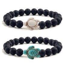 Tortue de mer tortue perles Bracelets pour hommes femmes charme naturel lave pierre pierre élastique Bracelet été plage Boho bijoux cadeaux