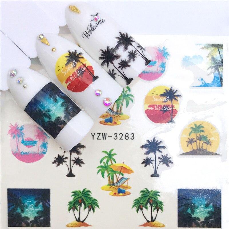 1 шт акварельные цветочные цветы фруктовая наклейка для ногтей Фламинго Русалка Морская звезда дизайн оболочки гель маникюр декор вода слайдер