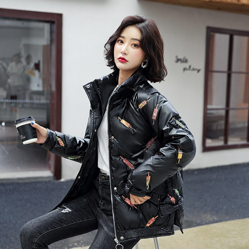 Новая короткая зимняя куртка, куртка зимняя женская женская теплая куртка, парки, Женская Повседневная Свободная верхняя одежда, корейское ...