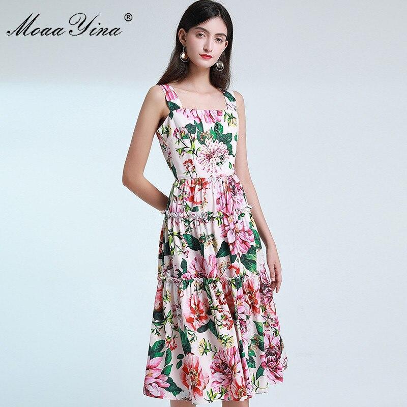 MoaaYina, vestido de diseñador a la moda, vestido de verano para mujer, vestidos de tirantes finos con estampado Floral y lentejuelas para vacaciones