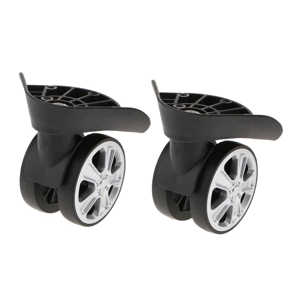 2 conjuntos esquerda & direita bagagem mala rodas giratória roda universal peça de substituição (rodas de rolo duplo)-J-049A preto