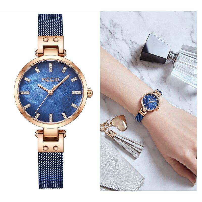 Pulseira com Japão Superior de Luxo Megir Rosa Azul Diamante Concha Feminino Relógios Movt Marca Quartzo Senhoras Relógio Frete Grátis 2021