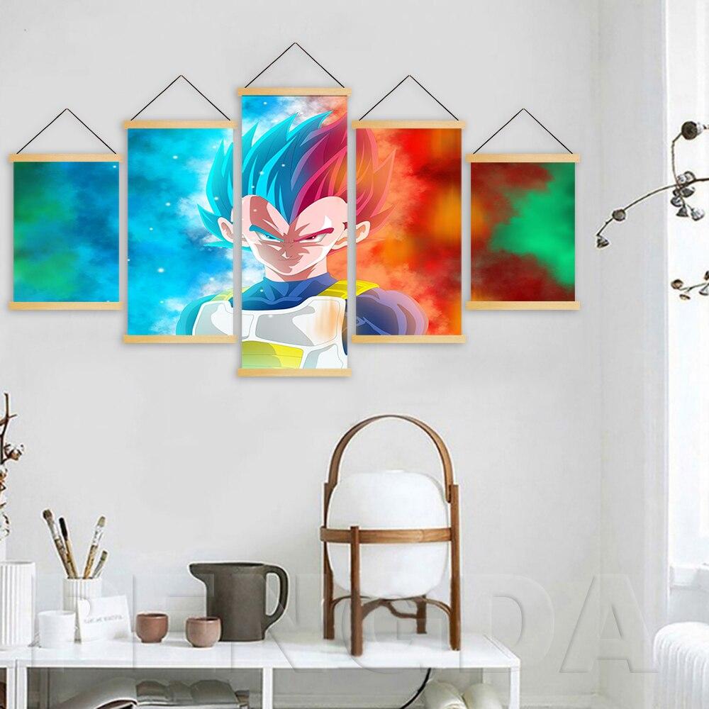 Decoración del hogar imagen impresa lienzo 5 paneles Anime Dragon Ball Goku póster pared arte desplazamiento de madera colgante pintura fondo de cabecera