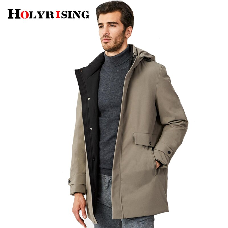 Holyrising, chaquetas clásicas de plumón para hombre, chaqueta informal de invierno con capucha, ropa ajustada para hombre, abrigo caliente con cremallera, prendas de vestir 19017-5