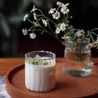 home creative european breakfast milk juice tea cup striped corrugated cup glass cup drinkware drinking glasses coffee mug