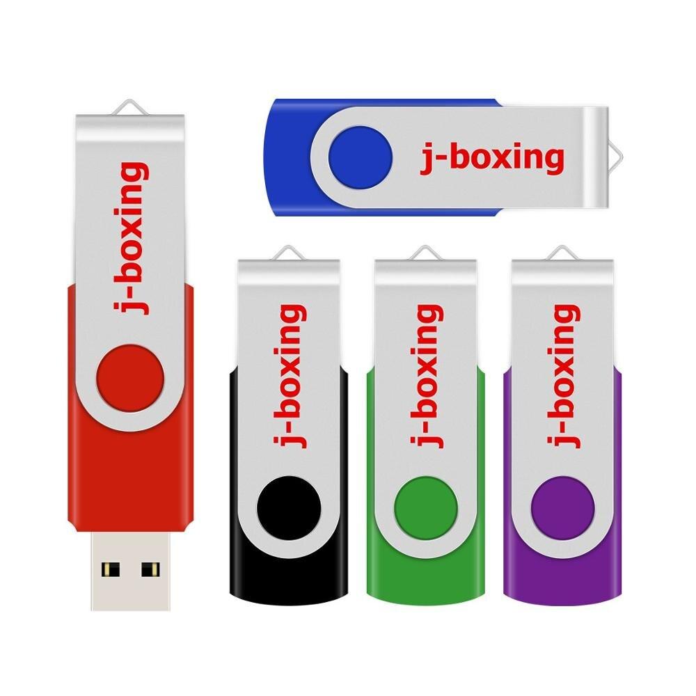 J-boxing 64GB USB Flash Pen Drive Metal Rotating 128 GB Pendrives Memory Stick Thumb Drive for PC Mac Tablet 5PCS/LOT Multicolor