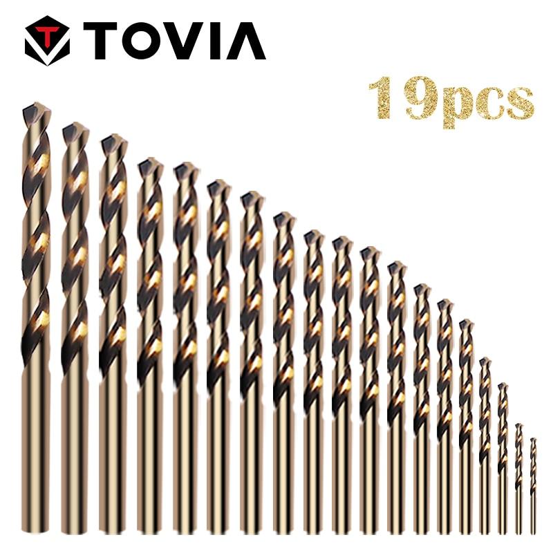 TOVIA 19pcs High Speed Steel Cobalt Drill Bit Set 1.0-10mm M35 Metal Drill Bit Set