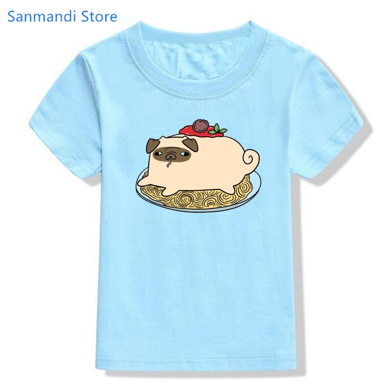 Забавная детская одежда, футболка с мультяшным принтом мопса и лапши для девочек и мальчиков, яркая летняя футболка, кавайная детская одежд...