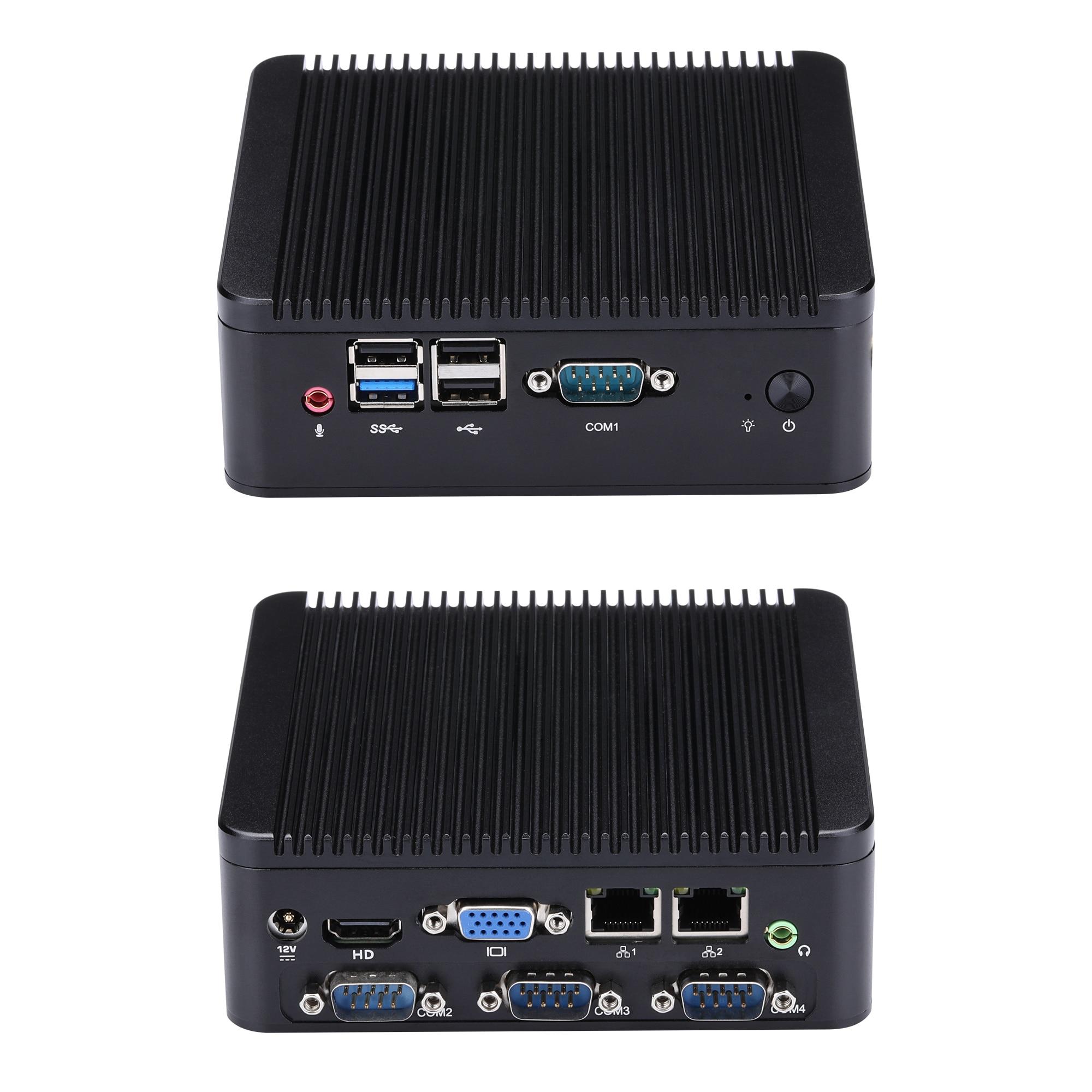 جهاز كمبيوتر صغير سريع 4 RS232 J1900 N2920 صغير لغرفة المعيشة/مضيف HTPC/كمبيوتر صناعي Celeron رباعي النواة