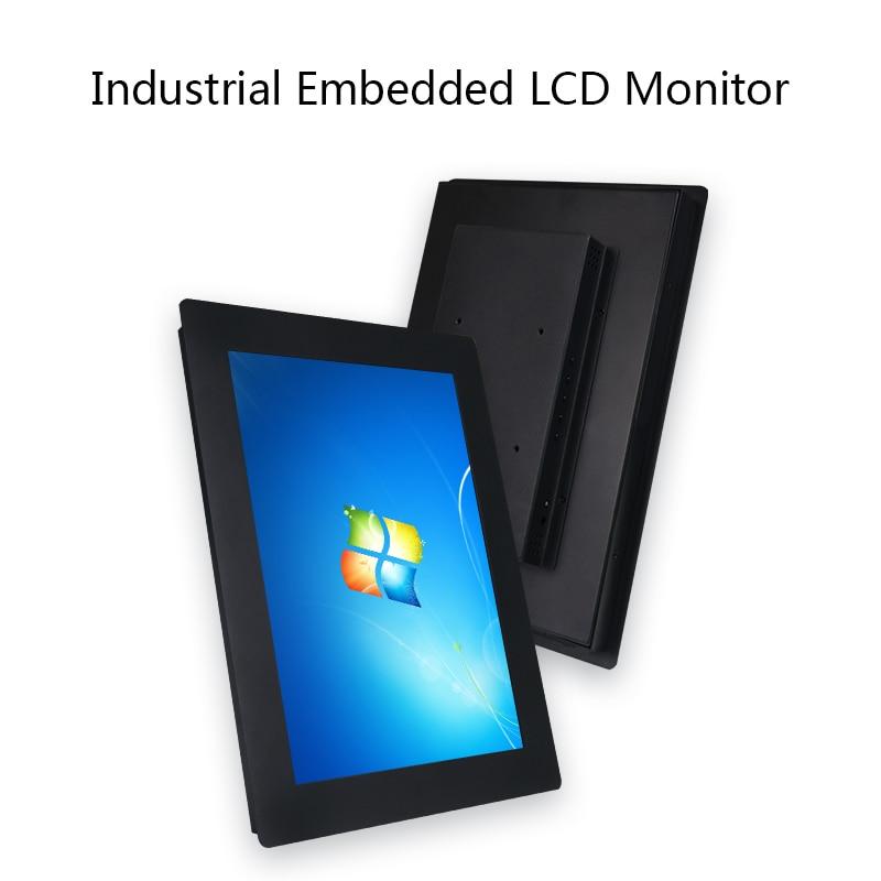 industrial computer lcd  monitors15.6 Polegada monitor de exibição lcd da tabuleta vga/hdmi/dvi/usb 1366*768 fivelas da tela de toque da resistência montagem