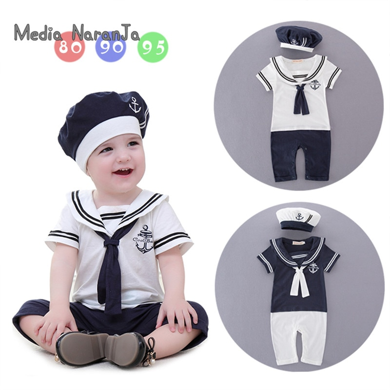 Baby boy cotton outfit sailor navy style hat+romper short sleeve 2pcs set jumpsuit infantil summer birthday clothes