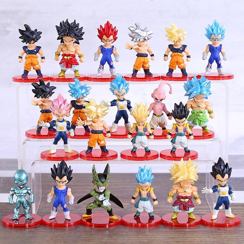 DBZ de Dragon Ball Z Super Saiyan Broly Gos hijo de Goku Vetega Gotenks Majin Buu celular freezer Mini figuras de PVC de juguete 21 unids/set
