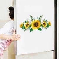 Affiche murale de tournesol 3D creative  autocollants de porte de refrigerateur de chambre a coucher  decoration de fenetre en PVC  accessoire de decoration de maison