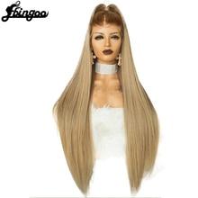 Ebingoo Hohe Temperatur Faser Peruca Kostenloser Teil Lange Gerade Haar Perücken Braun Wurzeln Ombre Blonde Frauen Synthetische Lace Front Perücke