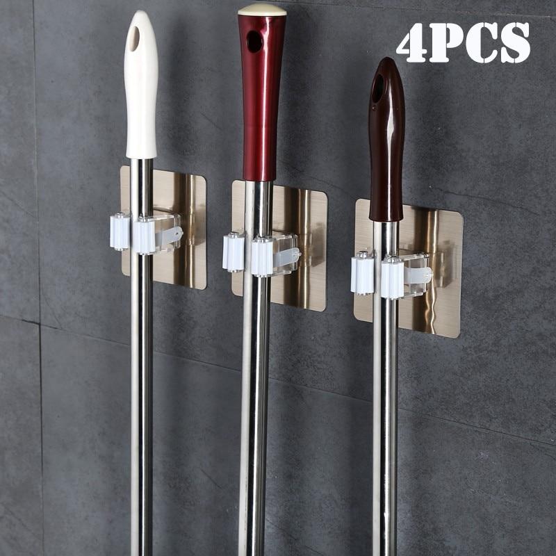 AliExpress - Adhesive Multi-Purpose Hooks Wall Mounted Mop Organizer Holder RackBrush Broom Hanger Hook Kitchen bathroom Strong Hooks