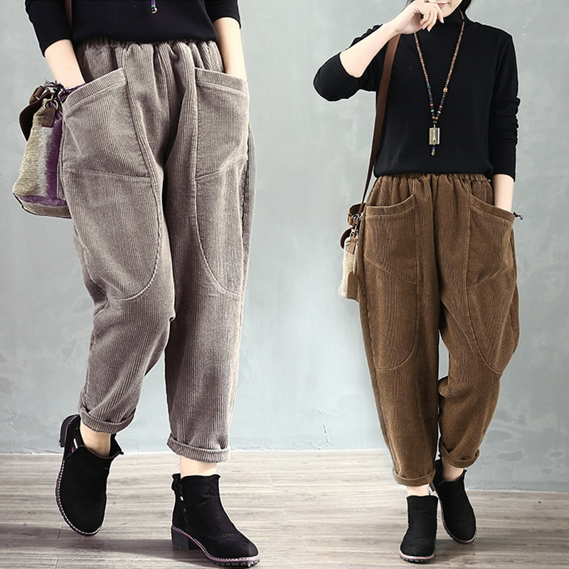 Autumn 2020 Artistic Retro Corduroy Harem Pants Fat Girl Loose Slimming Casual Pants Large Pocket Co