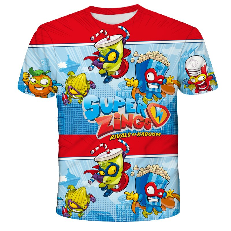 2021 Boys Summer TSHIRTS Super Zings Serie 4 T Shirt Baby Boy Tops Toddler Tees Kids Girl T Shirt Superzings Children T-shirts