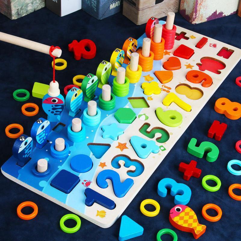 Juguetes de matemáticas Montessori para bebé de madera educacional para niños juguetes 5 en 1 números de conteo de pesca que combinan con forma de número tablero de registro rompecabezas de juguete