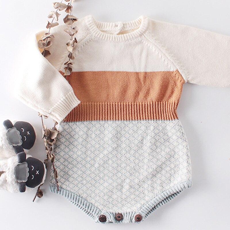 2019 Romper Baby Winter Baby Girl Clothes 3 Months Romper Stripe Jumpsuit Girls Orange Cotton Baby Romper