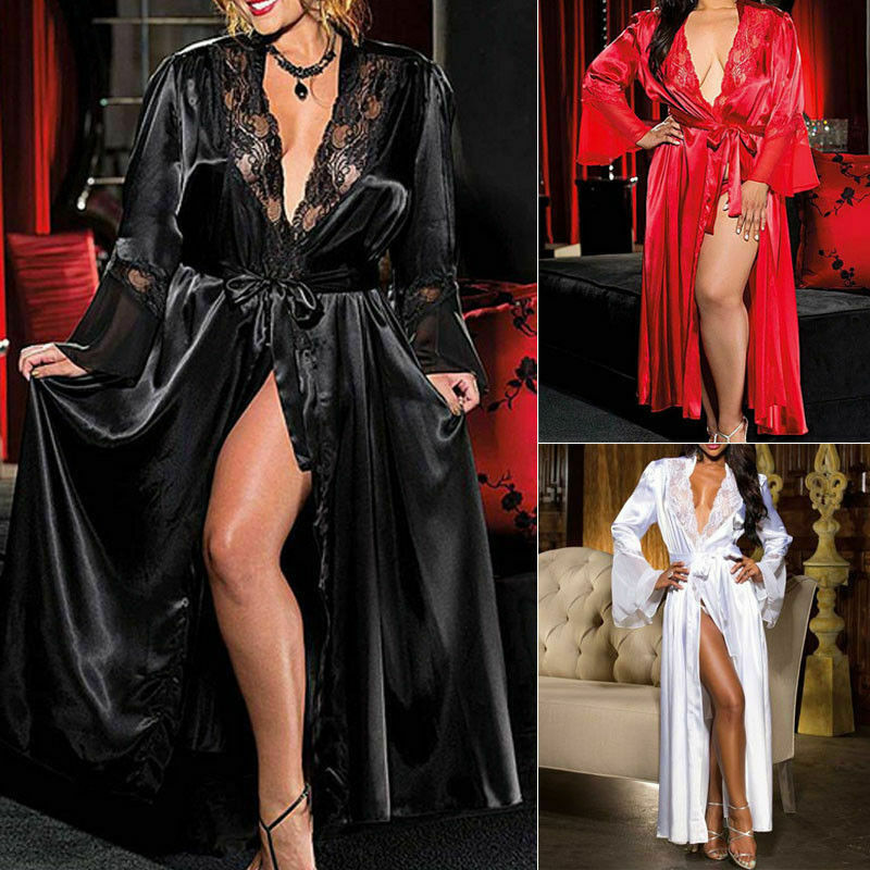 Sexy Women Lady Lingerie Satin Silk Lace Patchwork Gown Bathrobes G-string Long Nightdress Lingerie