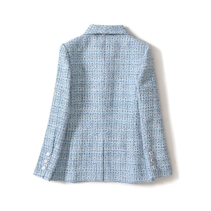 2020 New Designer Tweed Suit Jackets Women Korean Slim Fashion Office Lady Long Sleeve Plaid Short Coats Female Work Clothes