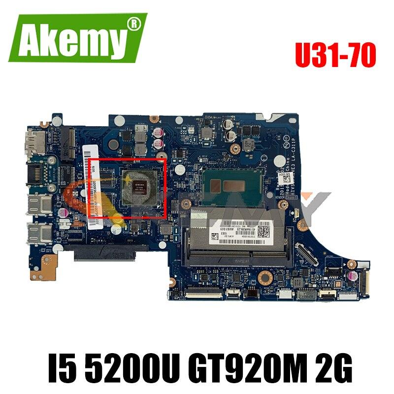 Akemy AIVS3/AIVE3 LA-C311P اللوحة لينوفو U31-70 اللوحة المحمول CPU I5 5200U GT920M 2G DDR3 100% اختبار العمل