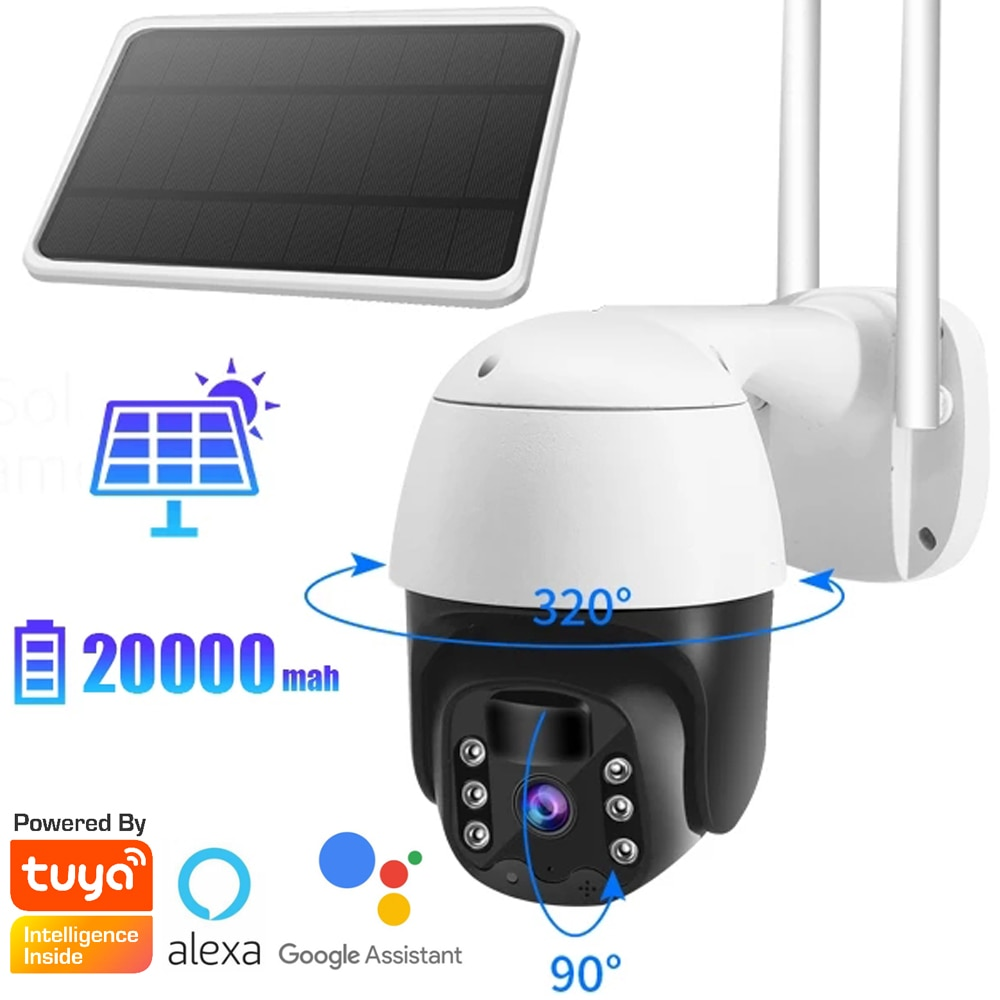 Review Tuya Smart Life 4G Solar Powered Battery Wifi Camera 360 Wireless PTZ PIR Speed Dome Camera 4G Sim Card Solar Intelligent Energy