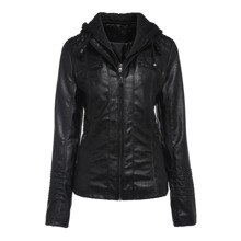 Hooded Faux Leather Jacket Slim Double Layer Women Autumn Winter Warm PU Jackets Coat Long Sleeve Vi