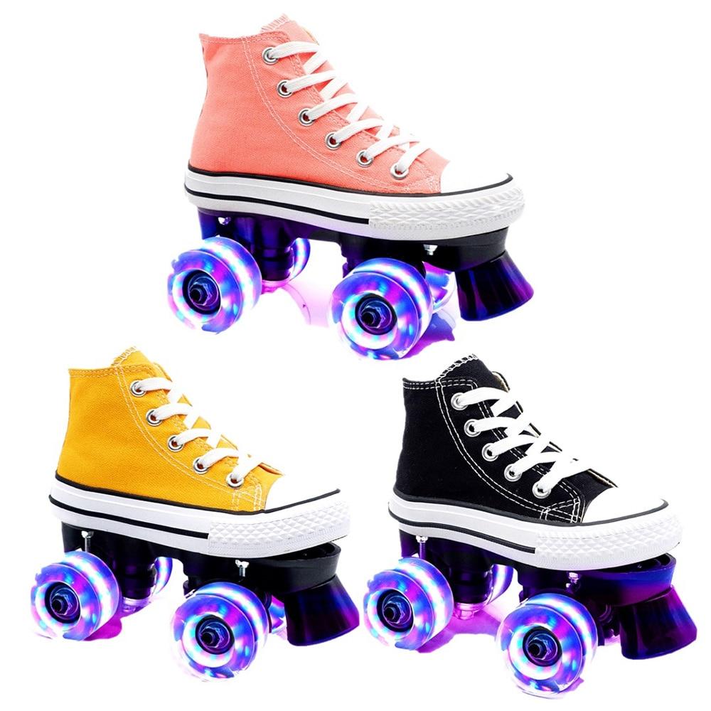 Детские коньки квад роликовые коньки унисекс двойная линия коньки для взрослых и детей два Катание на коньках обувь