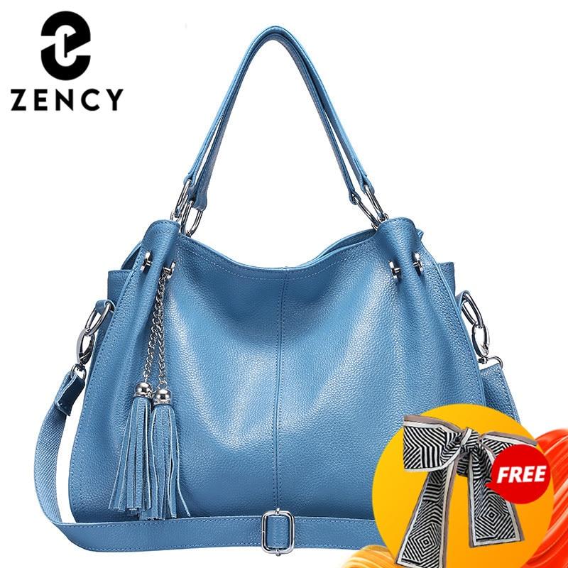 Zency Classic Brand Women Shoulder Bag 100% Genuine Leather Fashion Tassel Hobos Handbag Ladies Messenger Crossbody Purse Black