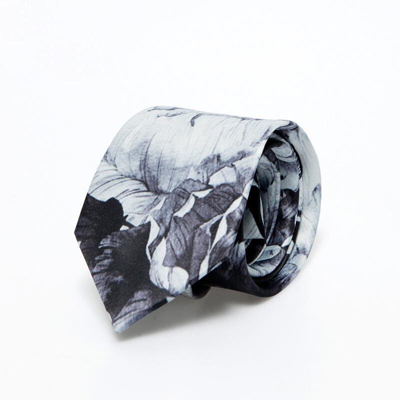 ¡Envío gratis! nueva corbata de hombre a la moda con estampado de rosa para novio blanco y negro de verano para hombre, corbata de boda literaria coreana para jóvenes