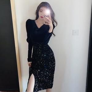 New Design Spring Dress Women 2021 Bling Bright V-neck Bubble Sleeve Sequin Black Party Velvet Bandage Dresses Sexy Night Club