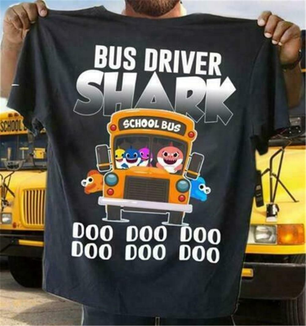 Camiseta de manga corta de S-3Xl de algodón para hombre con conductor de autobús Shark Doo