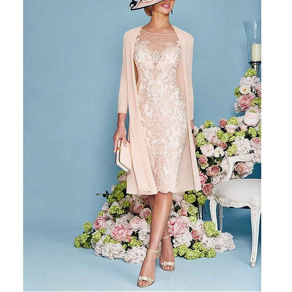 Light Pink Women's Mother of The Groom Dresses Tea Length Lace Mother of the Bride Dress with Jacket