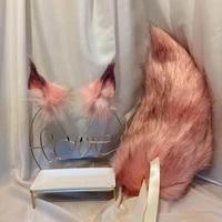 peach pink fox ears simulation animal ears kc wolf ears cos hand made cat ears fox ears headband cosplay