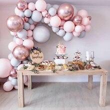 Macaron Ballonnen Boog Kit Pastel Grijs Roze Ballonnen Guirlande Rose Gold Confetti Globos Wedding Party Decor Baby Shower Benodigdheden
