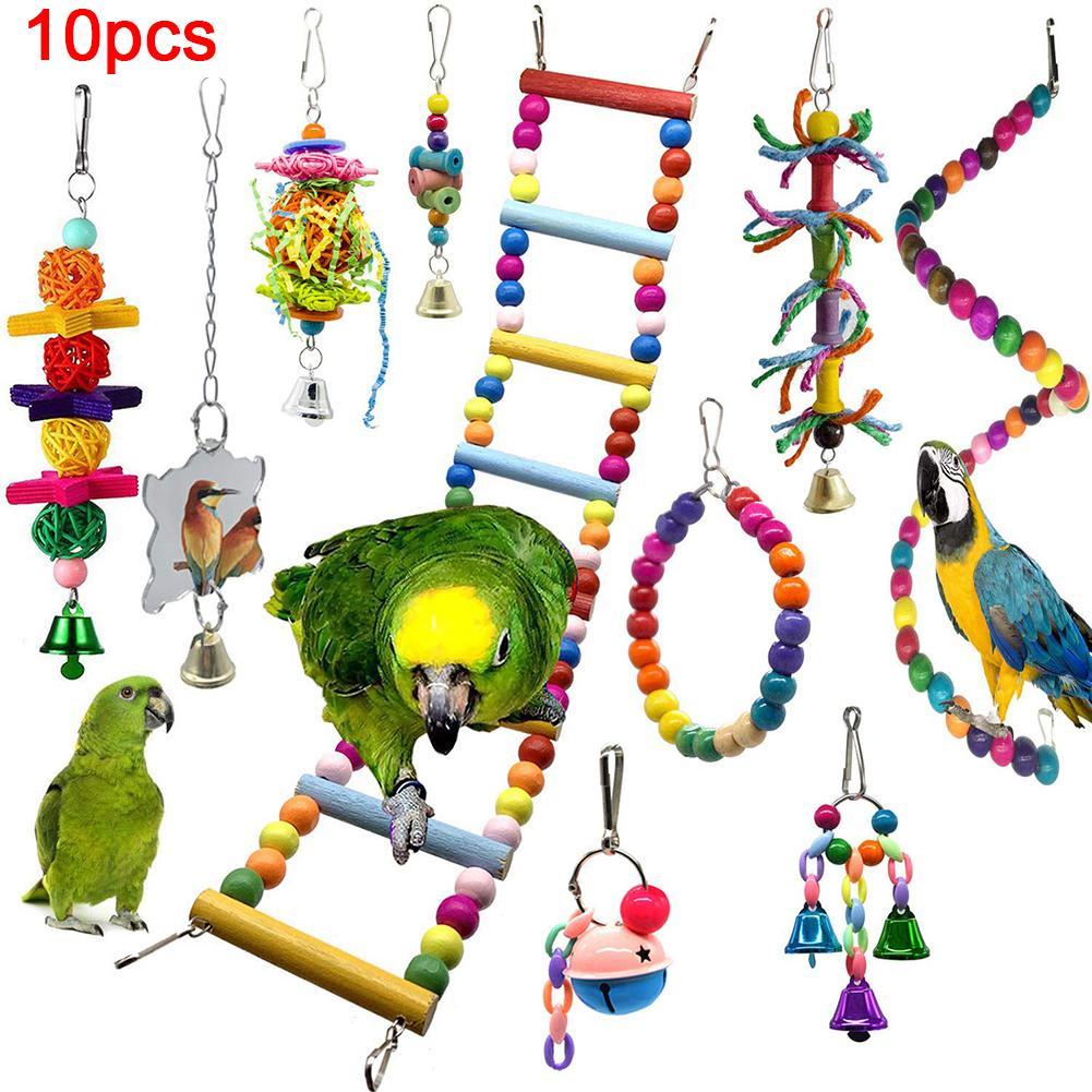 10 pçs pet pássaro sino rattan bola corda de algodão escada pendurado gaiola mastigar brinquedo
