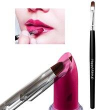 1PC Black Fiber Hair Single Lip Brush Wooden Handle Lip Gloss Makeup Brush Easy To Clean Makeup Pape