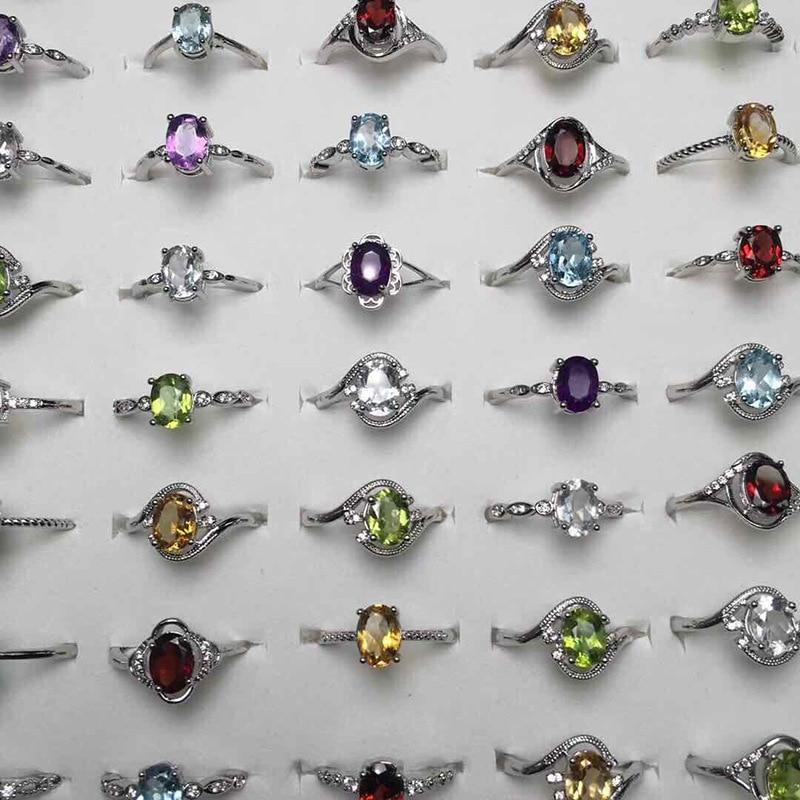 AliExpress - Gem rings for women Natural stone Garnet Topaz Citrine Peridot Amethyst crystal s925 noble jewellery real gemstone charm In bulk